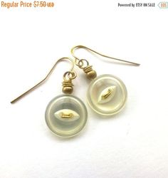Spring Sale White Button Earrings with Gold Tone - Shabby Chic by buttonsoupjewelry on Etsy