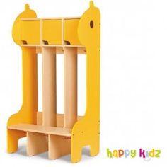 Kindergarderobe Giraffe - 3 Fächer und Sitzbank