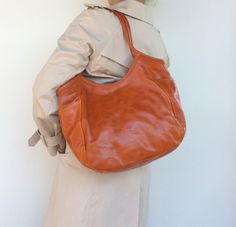 Orange Leather Women Tote Bag Purse Fashion Shoulder Handbag amelia