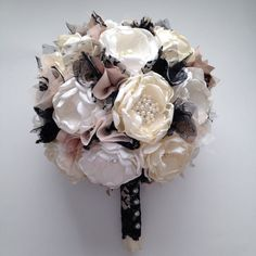 Fabric Bouquet  Extra Large Size  Black by TheVintageCabbgeRose