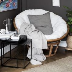 A large, round armchair in a papasan model with a cosy cushion to sink into. The frame is made of rattan and is made of two pieces - a lower conical part and a bowl-shaped part placed on top, which allows you to adjust the seat. Rattan is a lovely organic Rattan, Small Balcony Decor, Interior Styling, Interior Design, Room Goals, Outdoor Rooms, Rocking Chair, Living Room Designs, Bean Bag Chair