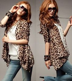 Fashion Women Leopard Sexy Panther Autumn Open Necked Shirt Tops Blouse S10175 | eBay