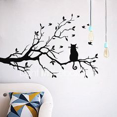 Wall Stickers,Geyou Removable Cat On Long Tree Branch Wall Sticker Wallpaper For Kids Home Living Room Decor Art Vinyl Mural Decal New (A) Mural Wall Art, Tree Wall Art, Art Vinyl, Vinyl Room, Vinyl Wall Decals, Sticker Vinyl, Wall Stickers Cats, Wall Stickers Home Decor, Wall Art