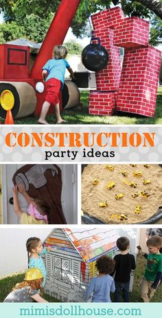 Looking for some fun construction themed party games for your construction birthday party? This post is full of awesome construction party games and activities. Construction Party Games, Construction For Kids, Construction Birthday Parties, Construction Party Decorations, Construction Business, Construction Worker, Graduation Party Games, Birthday Party Games, Children Birthday Party Ideas