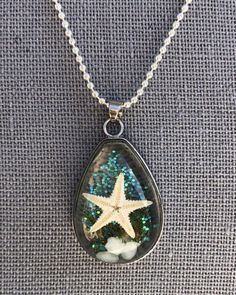 "Starfish Ocean Boho Teardrop Resin Silver Tone Ball Chain Necklace Pendant 17.5"" #Unbranded #Pendant"