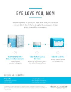 Great Mother's Day ideas from Rodan + Fields.  Message me to find out how you can save 10% + free shipping.  kathycaffray@gmail.com
