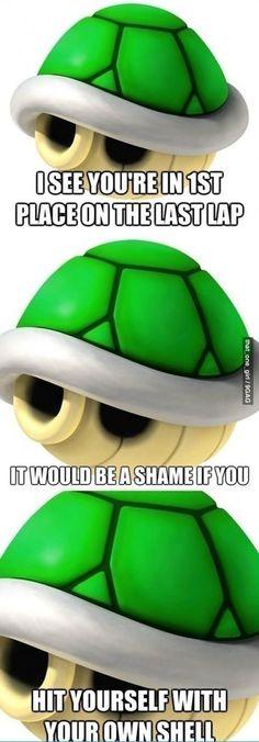 Mario Kart... stoopid shell