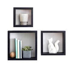 Deep square cubes spruce up your wall space while adding functional shelving