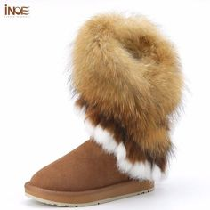 INOE fashion natural fox fur cow suede leather