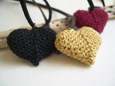 beautiful crocheted heart pendant necklace