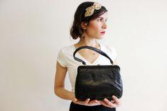 Vintage Handbag top handle bag small evening purse by Piece4U