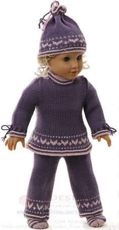 18 doll knitting patterns - I thought that a tunic would be really nice for this ensemble Knitting Dolls Clothes, Knitted Dolls, Doll Clothes Patterns, Doll Patterns, Knit Patterns, Clothing Patterns, American Doll Clothes, Girl Doll Clothes, Girl Dolls