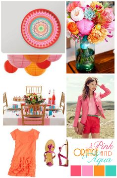 Pink orange & aqua color board....this is fun and playful...very Cheerful. If you have Children at your wedding this makes It for a  kid friendly atmosphere with a Vibrant palate.
