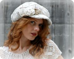Heirloom Lace Newsboy Hat by GreenTrunkDesigns on Etsy, $85.00