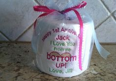 Items similar to Happy 1st (First) Anniversary with the Date embroidered Toilet Paper Pick your color theme. on Etsy