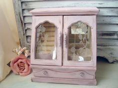 Pink Vintage Jewelry Box Distressed Pink by WillowsEndCottage, $53.00