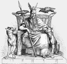 Odin med Gere og Freke ved sin side