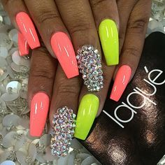 Acrylic nails coffin yellow unique coral yellow and diamond coffin shape gel nails my faves Neon Nail Polish, Neon Nails, Cute Acrylic Nails, Bling Nails, Cute Nails, Pretty Nails, Nail Polishes, Neon Yellow Nails, Neon Nail Art