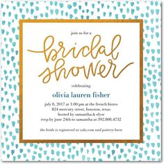 Dotted Bride - Signature White Textured Bridal Shower Invitations in Fuchsia or Blue Moon | Alexis Mattox Design