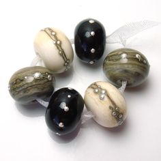 Handmade lampwork bead set    Neutrals with Silver by feyglass