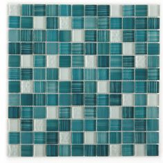 Glass Mosaic Tile Clear Turquoise Blend 1x1 | Mineral Tiles