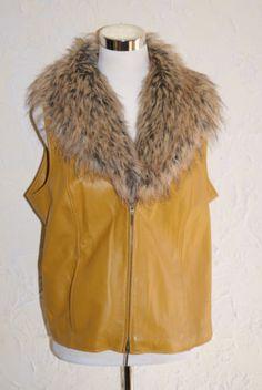 Terry-Lewis-Mustard-Color-Leather-Vest-Detachable-Faux-Fur-Collar-Medium-Size