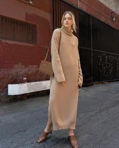 LOTTA - Nanushka knit camel turtleneck long dress – Nanushka Online