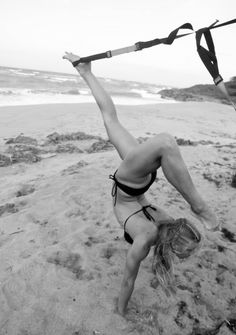 TRX on the beach - just added this to my workouts. I do wish the trainer did it on the beach though.
