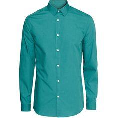 Easy-iron Shirt $14.99 (47 BRL) ❤ liked on Polyvore featuring tops, gabriel schuester, men, tailored fit shirts, collar top, blue shirt, long sleeve collar shirt and blue collar shirt