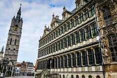 Belfry of Ghent and Ghent Town Hall (Stadhuis) - Ghent Belgium Ghent Belgium, Town Hall, Big Ben, Adventure Travel, Dutch, Louvre, Temples, Building, Viajes