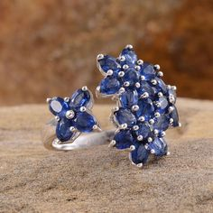Himalayan Kyanite Floral Ring in Platinum Overlay Sterling Silver (Nickel Free)