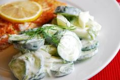 Cucumber Fennel Salad  A perfect side salad for fish or chicken, this delightful dish is creamy, tangy, and wonderfully fresh. It's a very simple Weight Watchers salad recipe that offers some great new flavor combinations with the sweet anise-like flavor of the fennel.