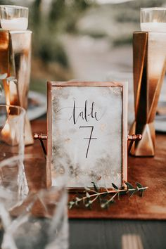 Love these unique copper table numbers for an indoor or outdoor wedding.
