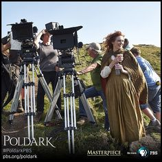 #PoldarkPBS MASTERPIECE #EleanorTomlinson checks out the camera's viewpoint! #BTS #onset