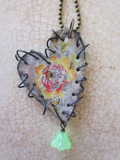 """Tin Jewelry """"Barbed Heart"""" Pendant Tin for the Ten Year Anniversary love her stuff"""