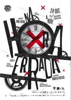 Na Hora Errada (In the Wrong Time) poster. in Graphic design Poster Design, Graphic Design Posters, Graphic Design Typography, Graphic Design Illustration, Branding Design, Logo Design, Japanese Typography, 3d Typography, Type Design