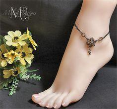 Citrine Flower Focal Black Chain Anklet by MelekDesigns on Etsy, $18.00