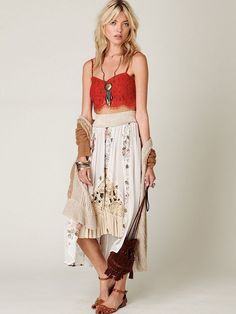 94404 Free People FP Me New Romantics Floral Godet Duster Sheer Skirt X  Small XS   50165bf31a