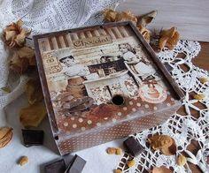 """Чайная коробка """"Жизнь в шоколаде"""" - коричневый,короб для хранения,короб для кухни"""