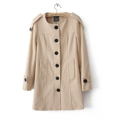 Beige Round Neck Long Sleeve Coat$58.00 (360 CNY) found on Polyvore