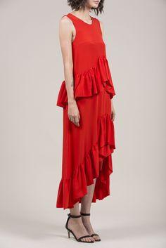 Double Ruffle Silk Dress by Isa Arfen @ Kick Pleat - 4