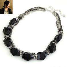 Personaliz Black Elegant Chain Design Alloy Fashion #Necklaces  www.asujewelry.com