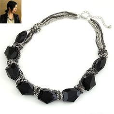 Personaliz Black Elegant Chain Design Alloy Fashion #Necklaces  www.asujewelry.com