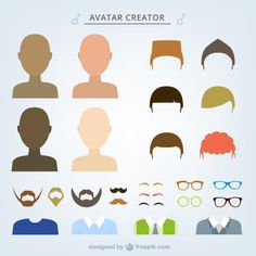Male avatar creator Free Vector Avatar Creator, The Creator, Drawing People, People Drawings, Character Flat Design, People Icon, Illustration Art, Art Illustrations, Master Class