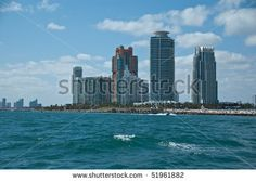 stock photo : partial skyline in fort lauderdale florida as seen from the intracoastal waterway