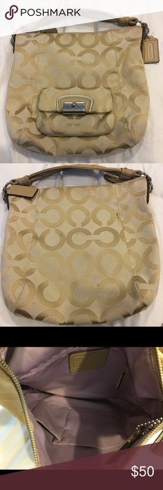 Authentic women's coach purse monogram Women's authentic coach purse. Good condition. Couple stains on the back of purse as seen in pics. Coach Bags
