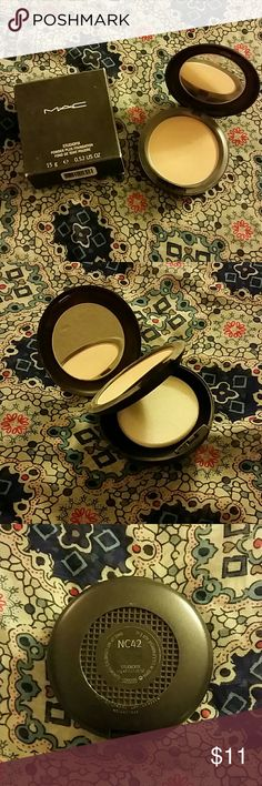 MAC Studiofix powder NC42 This is used, maybe 6 times only. The sponge was used on one side and that side has a crack in  it from when it was washed. The box is faded. Makeup Face Powder
