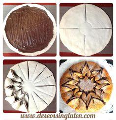Pastel de flor de crema de chocolate y avellanas