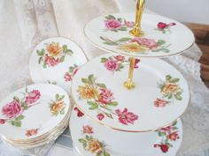 excellent condition upcycled plates 3 tier tea stand by Royal Albert and Royal Worcester pink themed stand with floral borders on plates