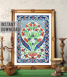 Printable Art Traditional Turkish Bouquet Vintage Floral